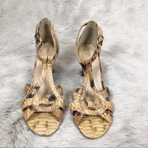 Tahari Women's Giselle Camel Snakeskin Sandals